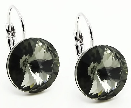 Náušnice Swarovski Elements - Rivoli black diamond 1/2