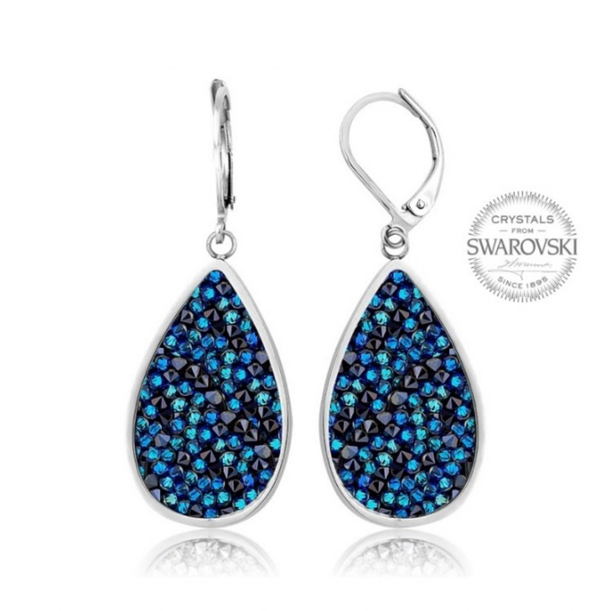 Náušnice Swarovski Elements - Rocks pear Bermuda blue 1/1