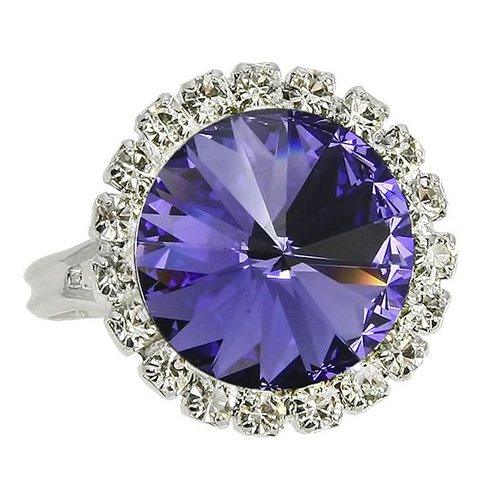 Prsten Swarovski Elements - Rivoli strass tanzanite 1/2