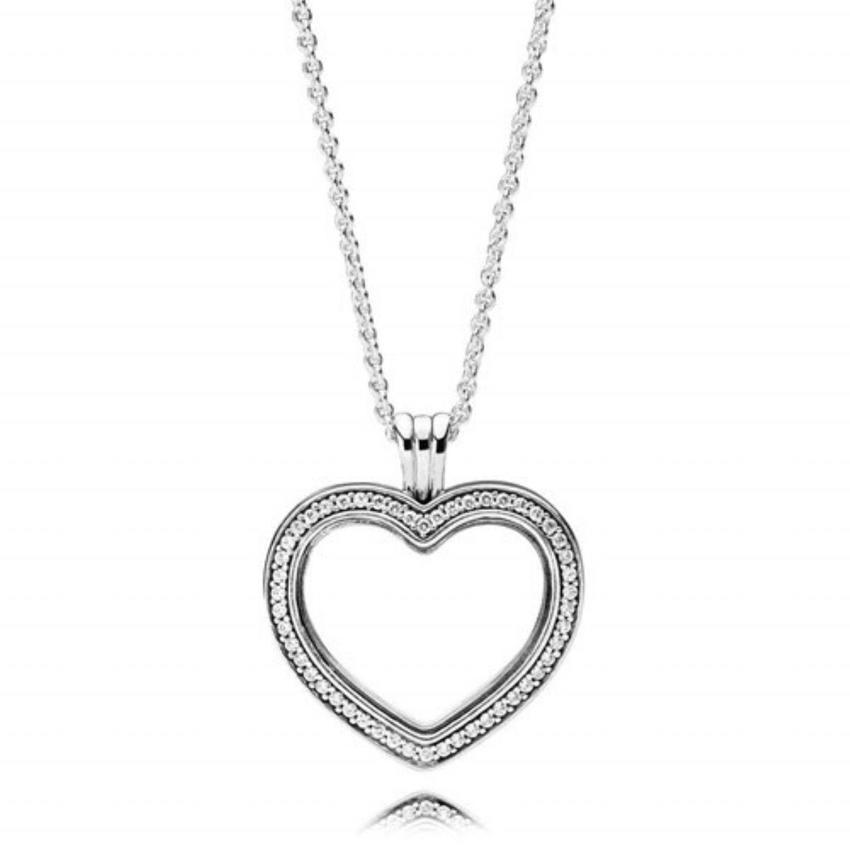 ... Stříbrný náhrdelník Pandora s medailonem - Třpytivé srdce 1 3 ... 6b0573c327f
